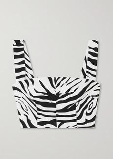 Dolce & Gabbana Cropped Zebra-print Cotton-blend Top