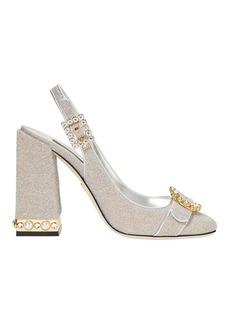 Dolce & Gabbana Crystal Buckle Silver Lurex Slingback Heels
