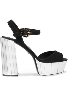 Dolce & Gabbana Crystal-embellished Canvas Platform Sandals