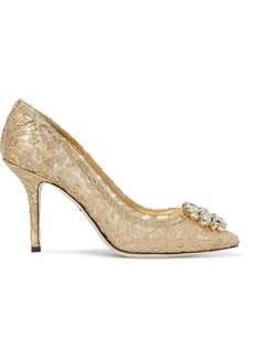 Dolce & Gabbana Crystal-embellished Corded Lace Pumps