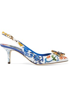 Dolce & Gabbana Crystal-embellished Floral-print Patent-leather Slingback Pumps