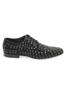 Dolce & Gabbana Crystal-Embellished Leather Derby Shoes