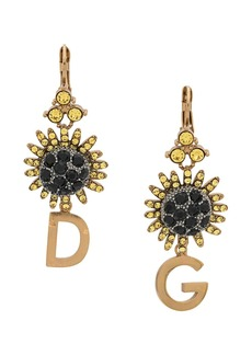 Dolce & Gabbana crystal-embellished logo pendant earrings