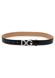Dolce & Gabbana Crystal Logo Leather Belt