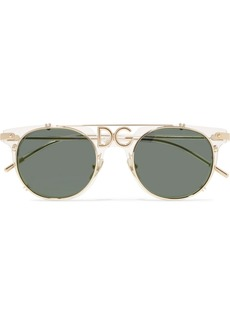 Dolce & Gabbana D-frame Acetate And Gold-tone Sunglasses