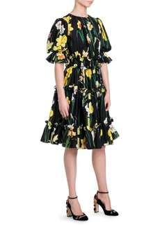 Dolce & Gabbana Daffodil Print Ruffled Dress