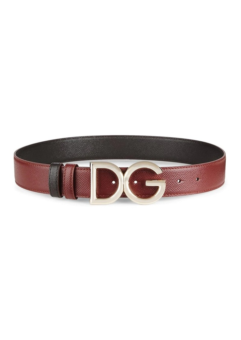 Dolce & Gabbana DC Logo Two-Tone Textured Belt