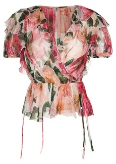 Dolce & Gabbana Roses print ruffle-trim blouse