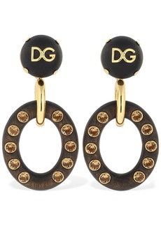 Dolce & Gabbana Dg Clip-on Pendant Earrings W/ Crystals