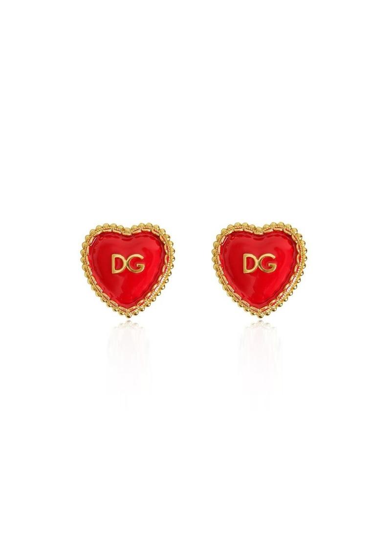 Dolce Gabbana Dg Heart Clip On Earrings