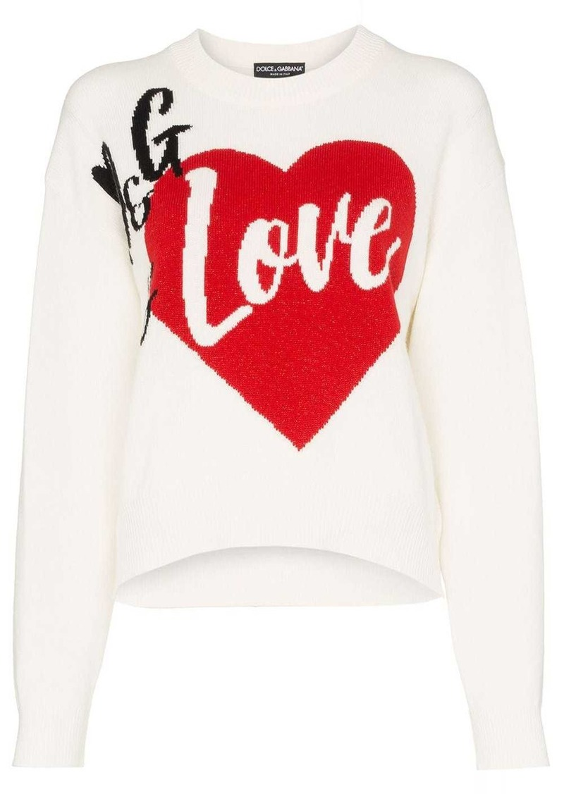 Dolce & Gabbana D&G Is Love cashmere blend intarsia knit sweater