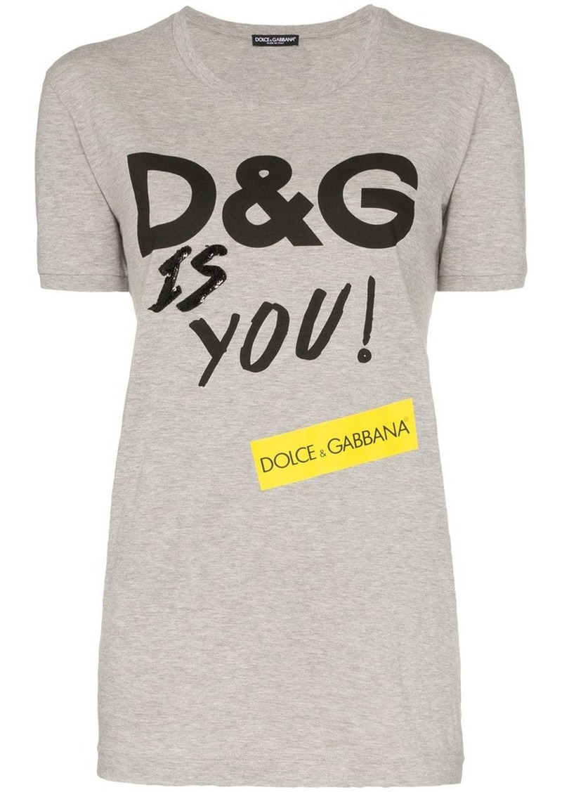 Dolce & Gabbana D&G Is You print cotton T-shirt