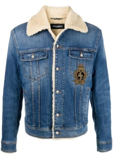 Dolce & Gabbana DG King shearling-lined denim jacket
