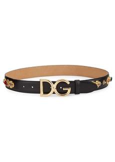 Dolce & Gabbana DG Logo Leather Embellished Belt