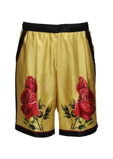 Dolce & Gabbana Dg Love Is Love Rose Print Silk Shorts