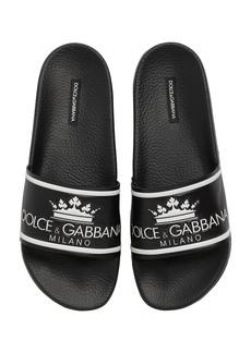 Dolce & Gabbana D&g Rubberized Leather Slide Sandals