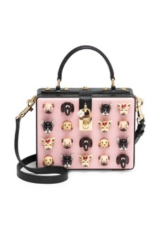 Dolce & Gabbana Dog Embellished Leather Box Bag