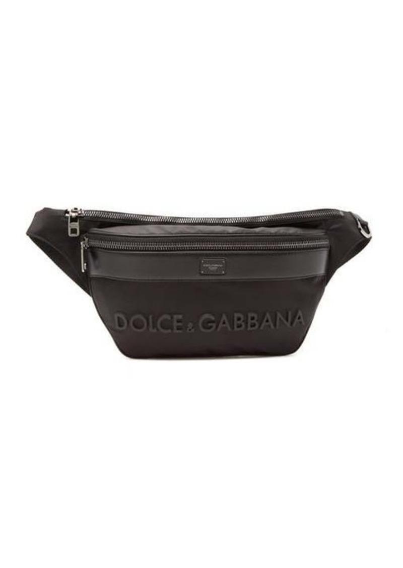 Dolce & Gabbana 3D-logo leather & technical-gabardine belt bag