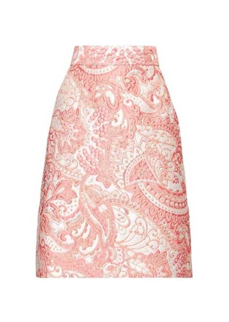 Dolce & Gabbana A-line floral-brocade knee-length skirt