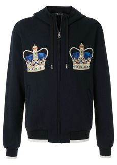 Dolce & Gabbana crown embroidered zipped hoodie