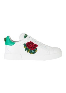 Dolce & Gabbana Sequin Floral Low-Top Sneakers