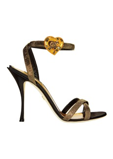 Dolce & Gabbana Gold Lurex Crystal Heart Buckle Sandals
