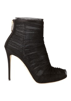 Dolce & Gabbana Ruched Tulle Peep-Toe Booties