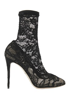 Dolce & Gabbana Black Lace Stretch Booties