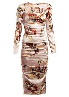 Dolce & Gabbana Angel-print satin midi dress