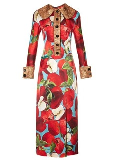 Dolce & Gabbana Apple-appliqué and print silk-blend dress