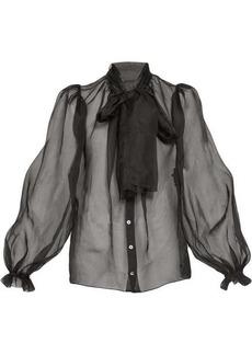 Dolce & Gabbana Balloon-sleeve silk-organza blouse