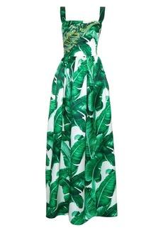 Dolce & Gabbana Banana leaf-print embellished gown