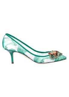 Dolce & Gabbana Banana leaf-print embellished mesh pumps