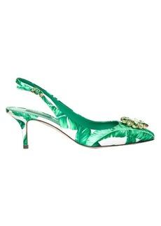 Dolce & Gabbana Banana-leaf print embellished pumps