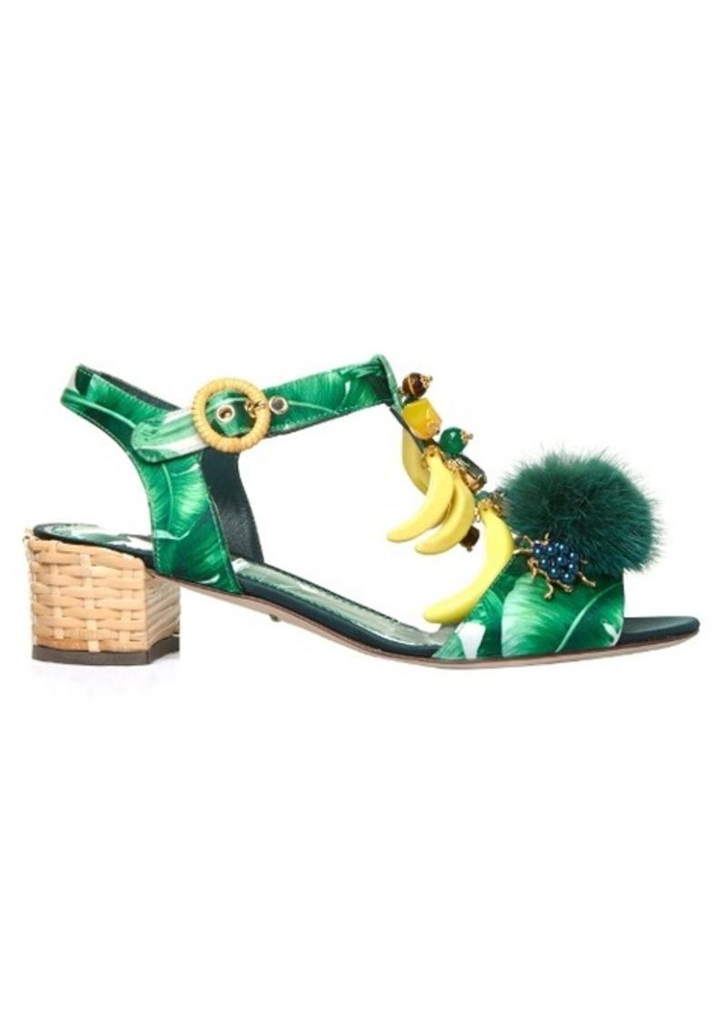 Dolce & Gabbana Banana leaf-print embellished sandals