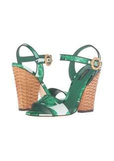 Dolce & Gabbana Banana Leaf Print Satin Sandal with Midollino Wedge Heel