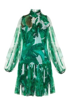 Dolce & Gabbana Banana leaf-print tie-neck chiffon dress