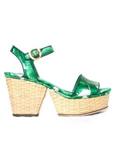 Dolce & Gabbana Banana leaf-print wicker wedge sandals