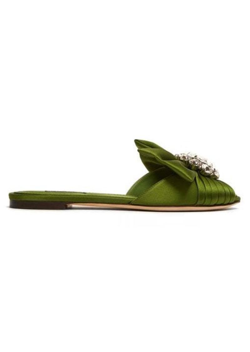 Dolce & Gabbana Bianca crystal-brooch satin slides