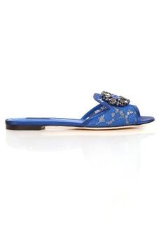 Dolce & Gabbana Bianca crystal-embellished lace slides
