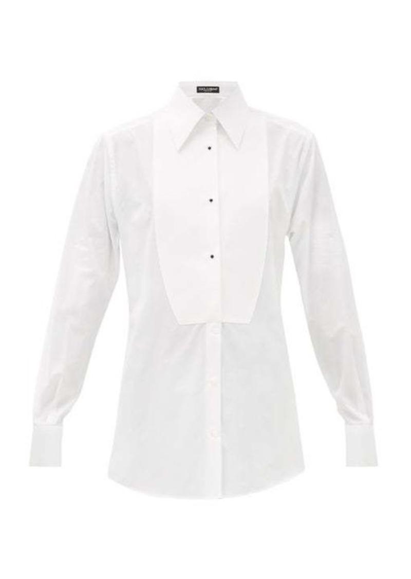 Dolce & Gabbana Bib-front cotton-poplin tuxedo shirt