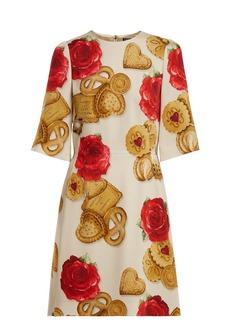 Dolce & Gabbana Biscotti and rose-print cady dress