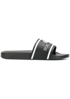 Dolce & Gabbana black and white crown logo embossed slides