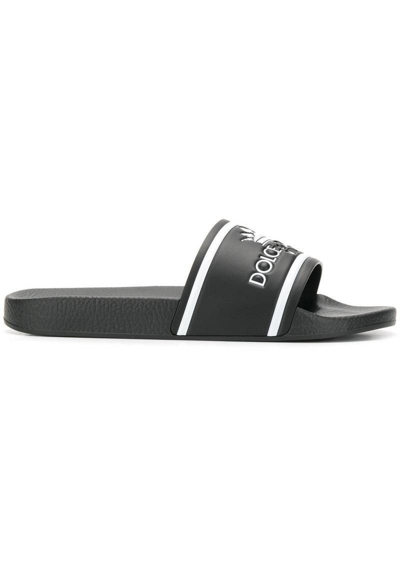 Dolce & Gabbana black and white crown logo embossed slides