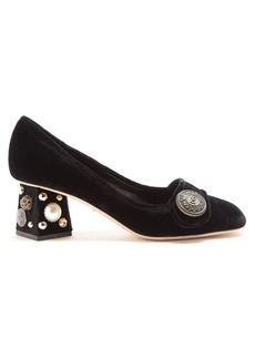 Dolce & Gabbana Block-heel embellished velvet pumps