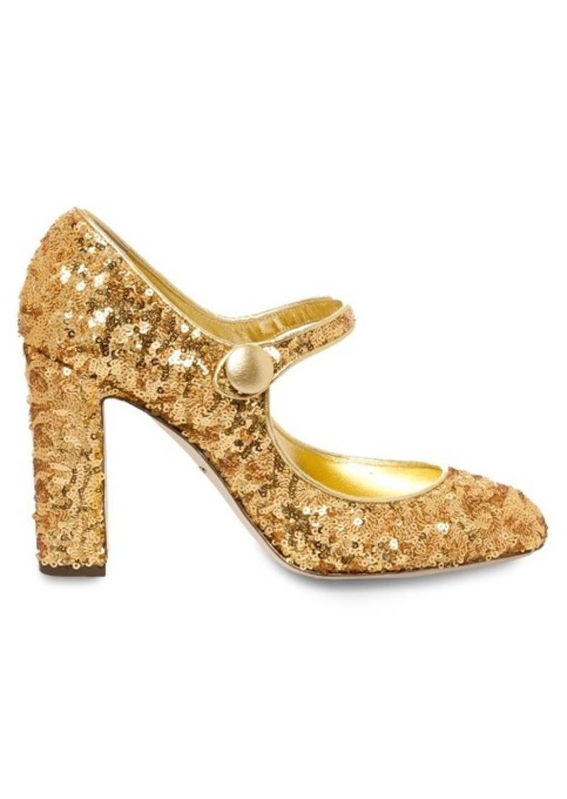 Dolce & Gabbana Block-heel sequin pumps