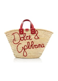 Dolce & Gabbana Blooming Logo Raffia Top Handle Tote