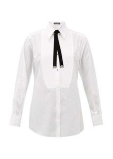 Dolce & Gabbana Bolo-tie cotton tuxedo shirt