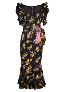 Dolce & Gabbana Bouquet-print silk-blend crepe midi dress