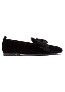 Dolce & Gabbana Bow-embellished velvet loafers
